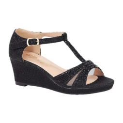 BL-K-Christy-7 Black Zapatos de niña Mayoreo Wholesale Girls Wedges Kids Shoes Nantlis