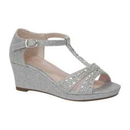 BL-K-Christy-7 Silver Zapatos de niña Mayoreo Wholesale Girls Wedges Kids Shoes Nantlis