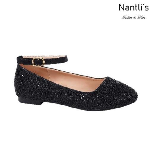 BL-K-Harper-1 Black Zapatos de niña Mayoreo Wholesale girls flats Kids dress Shoes Nantlis