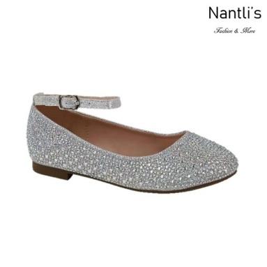 BL-K-Harper-1 Silver Zapatos de niña Mayoreo Wholesale girls flats Kids dress Shoes Nantlis