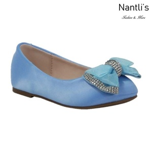 BL-K-Harper-27 Blue Zapatos de niña Mayoreo Wholesale girls flats Kids dress Shoes Nantlis