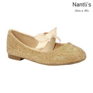 BL-K-Harper-28 Gold Zapatos de niña Mayoreo Wholesale girls flats Kids dress Shoes Nantlis