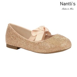 BL-K-Harper-28 Rose Gold Zapatos de niña Mayoreo Wholesale girls flats Kids dress Shoes Nantlis