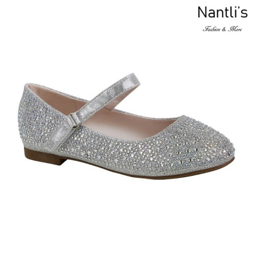 BL-K-Harper-32 Silver Zapatos de niña Mayoreo Wholesale girls flats Kids dress Shoes Nantlis