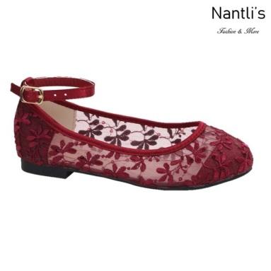 BL-K-Harper-78 Wine Zapatos de niña Mayoreo Wholesale girls flats Kids dress Shoes Nantlis