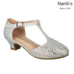 BL-K-Suri-14 Silver Zapatos de niña Mayoreo Wholesale Kids heels dress Shoes Nantlis