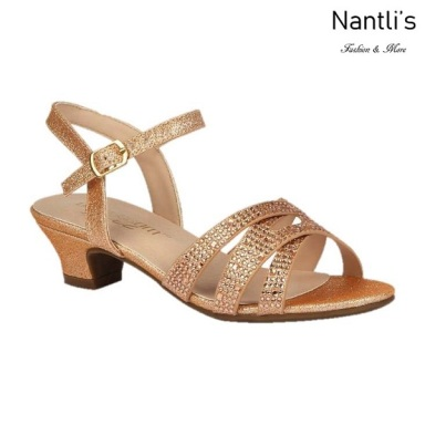 BL-K-Suri-32 Rose Gold Zapatos de niña Mayoreo Wholesale Kids heels dress Shoes Nantlis