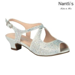 BL-K-Suri-33 Silver Zapatos de niña Mayoreo Wholesale Kids heels dress Shoes Nantlis