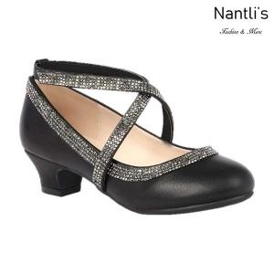 BL-K-Suri-40 Black Zapatos de niña Mayoreo Wholesale girls heels Kids dress Shoes Nantlis