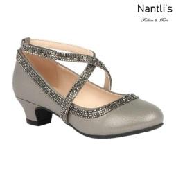 BL-K-Suri-40 Pewter Zapatos de niña Mayoreo Wholesale girls heels Kids dress Shoes Nantlis