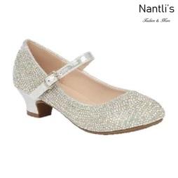 BL-K-Suri-41 Silver Zapatos de niña Mayoreo Wholesale girls heels Kids dress Shoes Nantlis