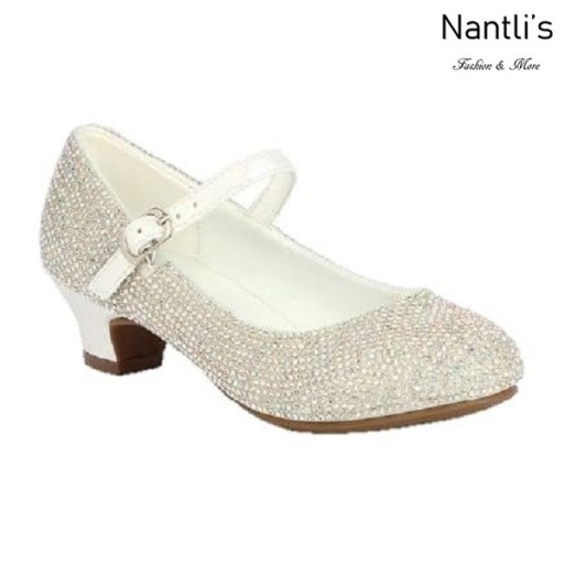 BL-K-Suri-41 White Zapatos de niña Mayoreo Wholesale girls heels Kids dress Shoes Nantlis