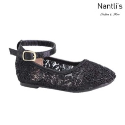 BL-T-Harper-53 Black Zapatos de niña Mayoreo Wholesale girls flats toddler dress Shoes Nantlis