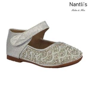 BL-T-Helen-3 Silver Zapatos de niña Mayoreo Wholesale girls flats toddler dress Shoes Nantlis