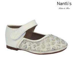 BL-T-Helen-3 White Zapatos de niña Mayoreo Wholesale girls flats toddler dress Shoes Nantlis
