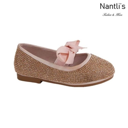 BL-T-Lili-3 Rose Gold Zapatos de niña Mayoreo Wholesale girls flats toddler dress Shoes Nantlis