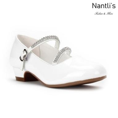 LD-K1405 patent white Zapatos por Mayoreo Wholesale kids shoes Nantlis Little Dominiques