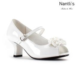 LD-K1902 patent white Zapatos por Mayoreo Wholesale kids shoes Nantlis Little Dominiques
