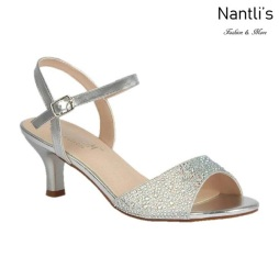 BL-Berk-64 Silver Zapatos de Mujer elegantes Tacon bajo Mayoreo Wholesale Womens Low-Heels Fancy Shoes Nantlis