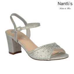 BL-Lennie-22 Silver Zapatos de Mujer elegantes Tacon bajo Mayoreo Wholesale Womens Low-Heels Fancy Shoes Nantlis