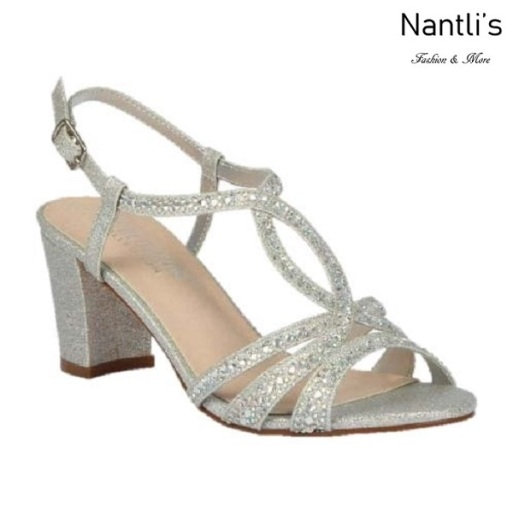 BL-Lennie-23 Silver Zapatos de Mujer elegantes Tacon bajo Mayoreo Wholesale Womens Low-Heels Fancy Shoes Nantlis