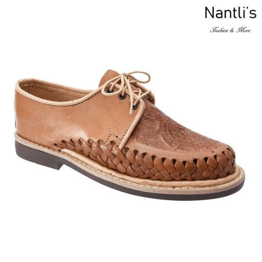 TM-31292 Zapatos Tejidos Mexicanos de hombres grabado calendario azteca Huaraches Mayoreo wholesale mens Mexican handwoven shoes Nantlis Tradicion de Mexico