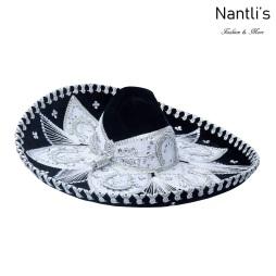 sombreros charros mayoreo TM-71158 Black-Silver Sombrero Charro Nantlis Tradicion de Mexico