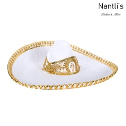 sombreros charros mayoreo TM-71170 White-Gold Sombrero Charro Nantlis Tradicion de Mexico