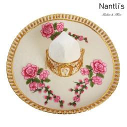 sombreros charros mayoreo TM-71235 Beige-Gold With Flowers Sombrero Charro Nantlis Tradicion de Mexico
