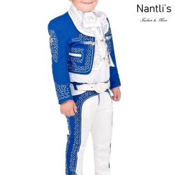TM-72126 Blue-White Soutache Traje Charro nino mayoreo wholesale kids charro suit Nantlis Tradicion de Mexico
