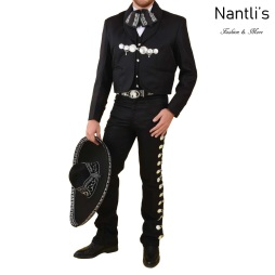 TM-72130 Black-Silver Traje Charro hombre Botonadura mayoreo wholesale mens charro suit Nantlis Tradicion de Mexico