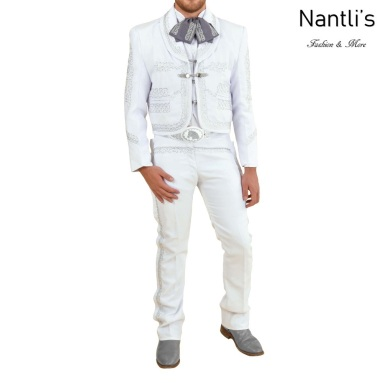 TM-72142 White-silver Soutache Traje Charro hombre mayoreo wholesale mens charro suit Nantlis Tradicion de Mexico