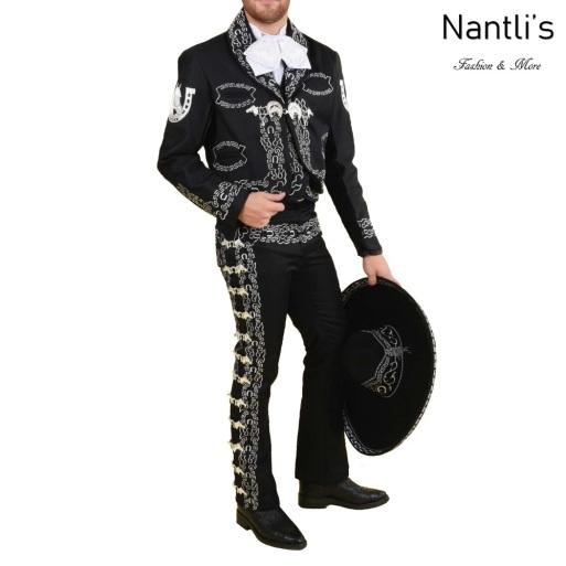 TM-72175 Black-Silver Traje Charro hombre Botonadura y Bordado mayoreo wholesale mens charro suit Nantlis Tradicion de Mexico