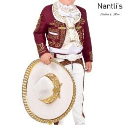 TM-72315 Wine-Beige-oro Soutache Traje Charro nino mayoreo wholesale kids charro suit Nantlis Tradicion de Mexico