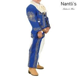 TM-72319 Blue-Beige-oro Soutache Traje Charro nino mayoreo wholesale kids charro suit Nantlis Tradicion de Mexico
