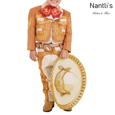 TM-72330 Ocre-Beige-Gold Traje Charro nino Bordado caballo mayoreo wholesale kids charro suit Nantlis Tradicion de Mexico
