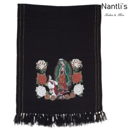 TM-73421 Black Rebozo Mexicano Estampado de Virgen de Guadalupe mayoreo wholesale Mexican Shawl 68x25 Nantlis Tradicion de Mexico