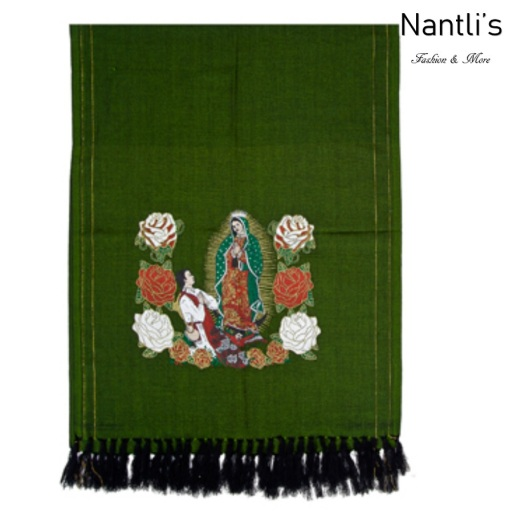TM-73421 Green Rebozo Mexicano Estampado de Virgen de Guadalupe mayoreo wholesale Mexican Shawl 68x25 Nantlis Tradicion de Mexico