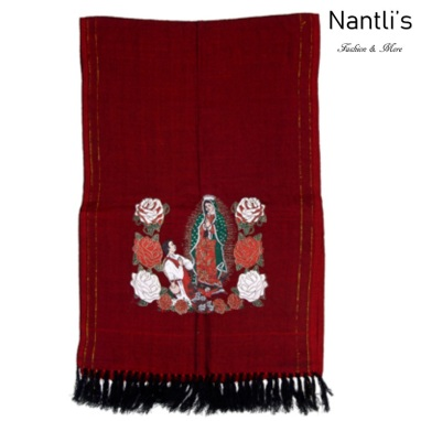 TM-73421 Red Rebozo Mexicano Estampado de Virgen de Guadalupe mayoreo wholesale Mexican Shawl 68x25 Nantlis Tradicion de Mexico