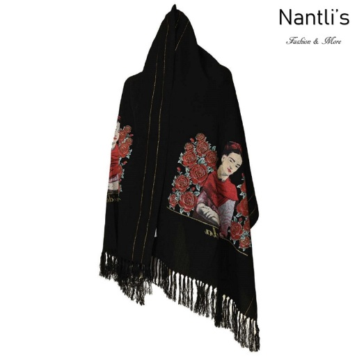 TM-73422 Black Rebozo Mexicano Estampado de Frida mayoreo wholesale Mexican Shawl 68x25 Nantlis Tradicion de Mexico