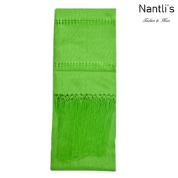 TM-75110-H Light Green Rebozo Chalina Mexicana mayoreo wholesale Mexican Shawl Cravat 65x18 Nantlis Tradicion de Mexico