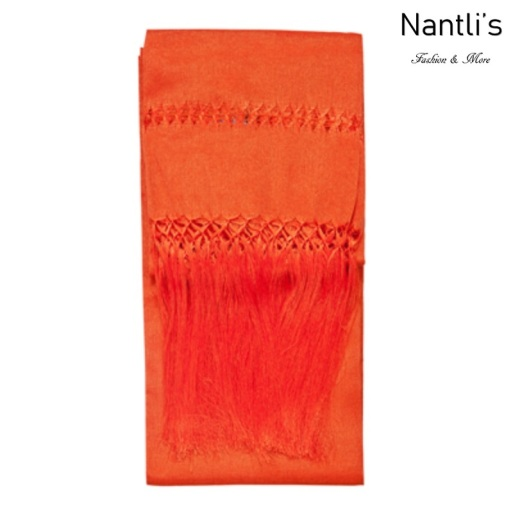 TM-75110-S Orange Rebozo Chalina Mexicana mayoreo wholesale Mexican Shawl Cravat 65x18 Nantlis Tradicion de Mexico