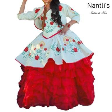 TM-76226 Hueso-Rojo Traje de Charro nina presentacion vestido chaquetin sombrero mayoreo wholesale Charro suit set for girls Nantlis Tradicion de Mexico