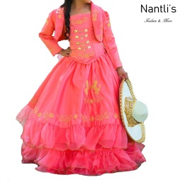 TM-76231 Fuchsia-Gold Traje de Charro nina presentacion vestido chaquetin sombrero mayoreo wholesale Charro suit set for girls Nantlis Tradicion de Mexico