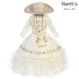 TM-76232 Beige-Gold Traje de Charro nina presentacion vestido chaquetin sombrero mayoreo wholesale Charro suit set for girls Nantlis Tradicion de Mexico