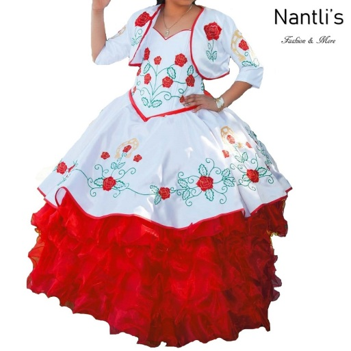 TM-76235 Blanco-Rojo Traje de Charro nina presentacion vestido chaquetin sombrero mayoreo wholesale Charro suit set for girls Nantlis Tradicion de Mexico