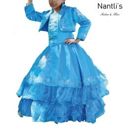TM-76236 Blue Traje de Charro nina presentacion vestido chaquetin sombrero mayoreo wholesale Charro suit set for girls Nantlis Tradicion de Mexico