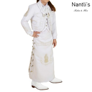 TM-76242 White-Silver Traje de Charro nina virgen de Guadalupe mayoreo wholesale Charro suit set for girls Nantlis Tradicion de Mexico