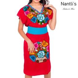 TM-77011 Red Vestido Bordado de Mujer mayoreo wholesale Mexican Embroidered Womens Dress Nantlis Tradicion de Mexico