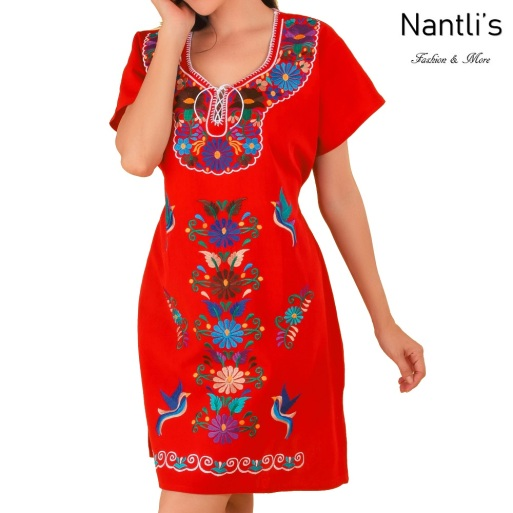 TM-77124 Red Vestido kimono Bordado de Mujer mayoreo wholesale Mexican Embroidered Womens Dress Nantlis Tradicion de Mexico